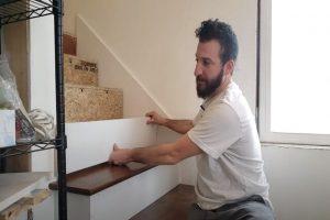 MC Brampton Flooring worker Installing Engineered Wood Stair Risers And Treads