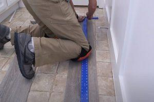 Luxury Vinyl Plank installtion by a Brampton Flooring worker