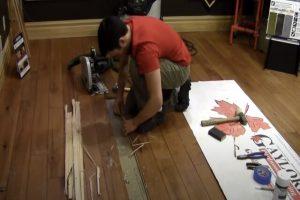 Floor hardwood repair in Brampton ON home by employee.